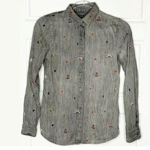 Scotch and Soda tattoo embroidered shirt